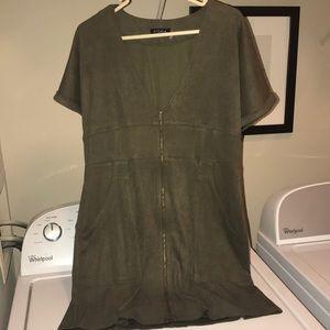 An olive green velvet dress